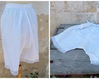Vintage 1900 Victorian French bloomers closed crotch white cotton pantalons size  M