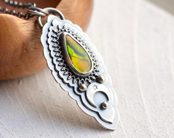 Ammolite Necklace, 925 Silver Necklace, Crescent Moon Detail, Boho Style Jewelry, Modern Rustic Necklace, Gift for Women