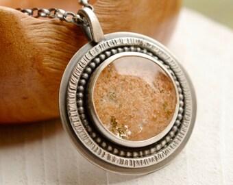 Lodolite Quartz Necklace, Textured Silver Pendant, Silver and Stone Jewelry, Metalsmith Pendant, Modern Metalwork Jewelry, Artisan Jewelry