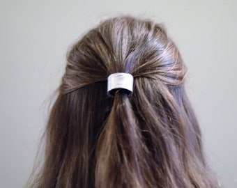 Leather Hair Cuff Ponytail Holder in Silver size 3inches