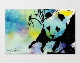Panda Bear Watercolor Canvas Art Print , Large Original Abstract watercolor painting by Kathy Morton Stanion  EBSQ