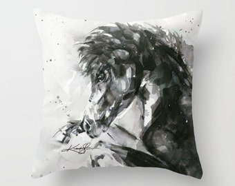 """Horse Pillow -  Black Horse Watercolor Painting Art, Original abstract Painting """"Beauty """" by Kathy Morton Stanion  EBSQ"""