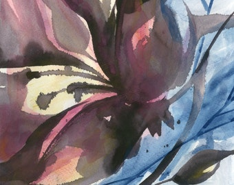 "Abstract Flower Watercolor Painting, Original art ""Organic Impressions 051"" by Kathy Morton Stanion EBSQ"