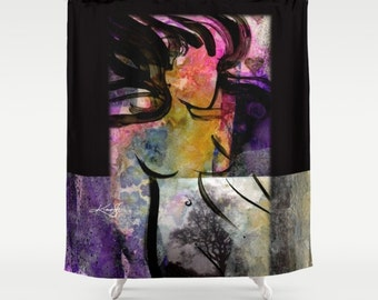 "Goddess Art Shower Curtain from Original abstract Nude Goddess Wicca art painting ""Breath Of The Goddess"" by Kathy Morton Stanion  EBSQ"