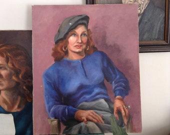 vintage painted lady on canvas 20X24