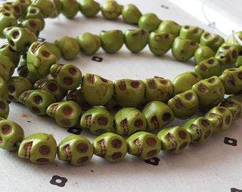Green Howlite Skull Beads full strand (40  beads)