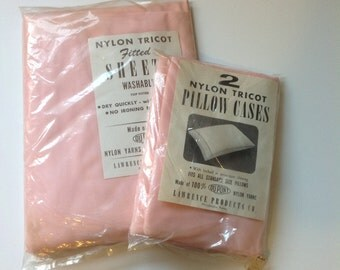 Vintage Pink Bed Sheets Pillowcases Nylon Tricot