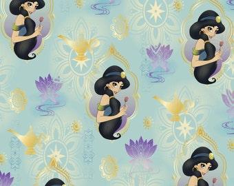 Disney's Jasmine on blue, Princess holding flower, 1 yard