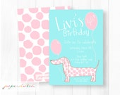 Girl Pink Puppy Dog Birthday Invitation - Adorable Puppy Invitation - Pink Polka Dot Puppy - Weiner Dog Dachshund Invite - Printable Invite