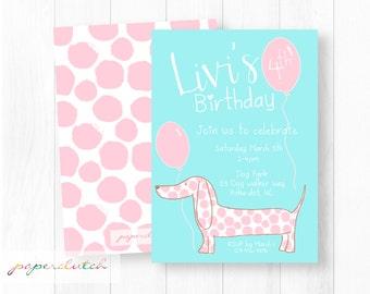 Girl Pink Puppy Dog Birthday Invitation - Adorable Puppy Invitation - Pink Polka Dot Puppy - Weiner Dog Dachshund Invite - Printable Invite