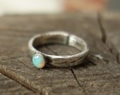 Opal Bark Band - Sterling Silver Carved Band with 4mm Genuine Opal