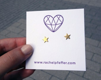 Brass Star Studs with Sterling Silver Posts
