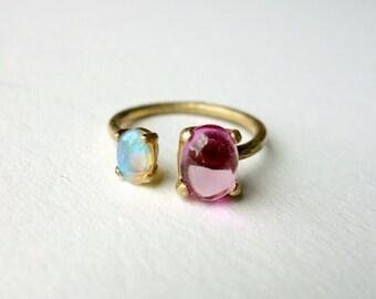 Opal // Pink Sapphire // Brass Dual Ring
