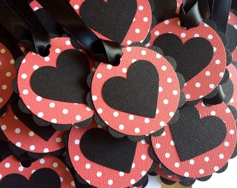 25 Large Black and Red Polka Dot Heart Scalloped Circle Favor Tags, Gift Tags - Birthday, Bridal Shower, Baby Shower, Wedding