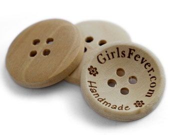 25mm personalization custom wooden buttons 4 holes 100 pcs