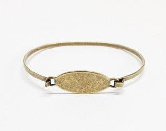 Bangle Bracelet Blank - SMALL-MED Brass Ox (oxidized) OVAL Hinge Top Stampable Stackable Cuff Bangle Bracelet Blank Base