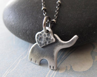 Baby Elephant Necklace - Sterling Silver Ellie