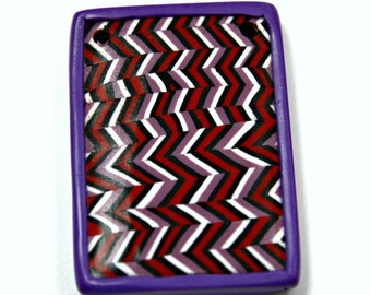 Handmade Polymer Clay Pendant in Diagonal Striped Pattern