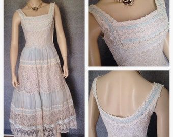 Gorgeous 1950s Shelf Bust Party Frock, Fit for a Bride, Something Old, Something Blue...