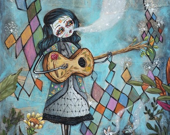 Guitar Day of the Dead - Sugar Skull with Guitar - Dia de los Muertos Guitar, striped cat, white rabbit - Print by Heather Renaux