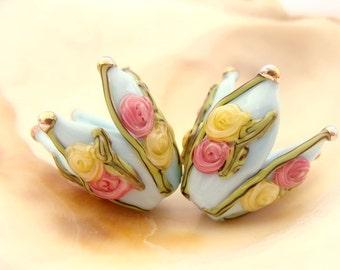 Light Blue Flowers Handmade Lampwork Bead Pair