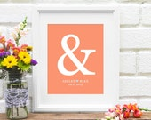 Personalized Anniversary Gift : Ampersand Gift for New Couple, Personalized Bridal Shower Present, Engagement Gift - 8x10 Art Print