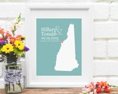 New Hampshire State Map Wedding Gift, First Anniversary Paper Gift, New England Guestbook Sign, Engagement Gift, Bridal - 8x10 Art Print
