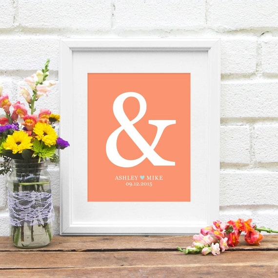 Personalized Anniversary Gift : Ampersand Gift for New Couple, Personalized Bridal Shower Present, Engagement Gift - Art Print