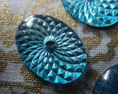 Aquamarine Blue 18x13mm Foiled Radiant Reflector Style Vintage Glass Oval Gems with Center Hole 4 Pcs