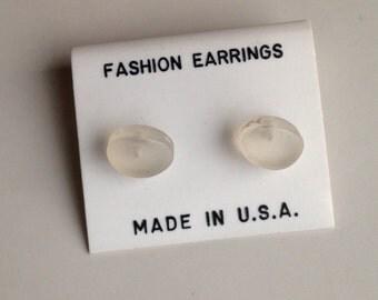 Etsy, Etsy Jewelry, Stud Earrings, Oval Earrings, Clear Earrings, Plastic Earrings, New Old Stock, 80's Earrings, 1980's Earrings