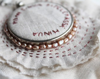 Reversible Poetry Pendant Necklace - Embroidery and Freshwater Pearls on White Linen and Mica