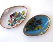 Mid Century Copper Enamel Clam Shell Dishes