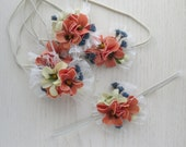 Peach and Blue Tiny Flower headband for babies