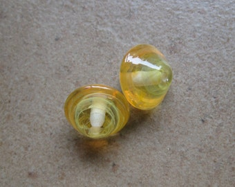 Lampwork Beads - SueBeads - Bicone Beads - Daffodil and Tangerine Bicone Bead Pair - Handmade Lampwork Beads - SRA M67
