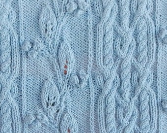 pattern for cable, leaf and berries w bramble borders lap robe