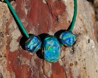 Waterworks Trio - Capped & Cored Dan O Lampwork Beads for european style add a bead chains w/ cord