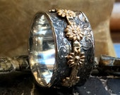 Floral spinner ring, spinner band, Silver wedding band, silver and gold ring, two tone ring, gold flower band, wedding ring - Homeland R2315