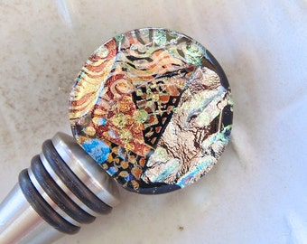 Bottle Stopper, Stainless Steel Dichroic Wine Bottle Stopper, Fused Glass, FDA Kitchen Grade, Dichroic Glass, OOAK