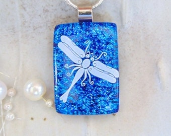 Blue Necklace, Dichroic Fused Glass Pendant, Glass Jewelry, Dragonfly, White, Necklace Included, A4