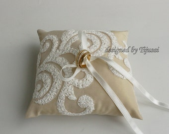Beige ring bearer pillow with embroidered lace --- wedding ring bearer pillow, wedding rings pillow , wedding pillow