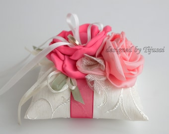 Small Wedding pillow with 2 pink flowers ---ring bearer pillow, wedding rings pillow, wedding pillow, ready to ship