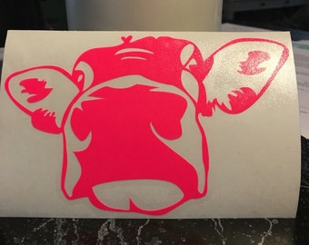 Cow Head Decal, Cow Decal, Equine Vinyl Wall Decal Car Decal Laptop Decal ipad decal ice chest decal cooler decal animal decal yeti cup cow