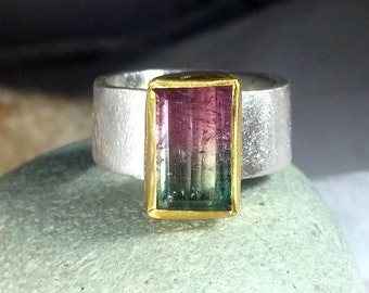 WatermelonTourmaline Ring, Solitaire Ring, silver and 22 kt yellow gold ring,  Tourmaline stone ring