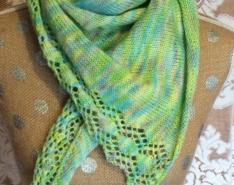 Hand-knitted Wool and Silk Scarf or Wrap Green and Yellow with Multicolored Accents