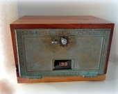 Verdigris Brass Post Office Door Safe Cherry Combination Lock Wedding Card Box Bronze Bank Chest Gun Cabinet Retirement 5th 8th Anniversary