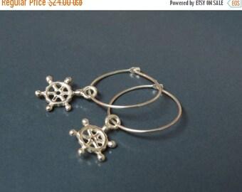 ON SALE - Nautical jewelry, Nautical earrings, Sailing jewelry, Ship wheel earrings, sailor jewelry, sailor girl gift