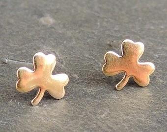 Golden shamrock earrings - clover Earrings tiny gold studs minimalist jewelry