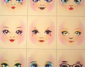 Rainbow girls cloth doll faces ready to sew fabric panel rose shade A6C2