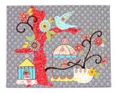 Boho Hummingbird Canvas Art - Boho Chic Decor - Collage Silver Bird Art - Boho Art For Office - Embroidery Bird Art - Fabric Wrapped Canvas