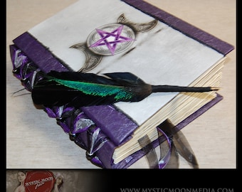 Triple Moon Pentagram Book of Shadows... Amethyst  Midnight Shimmer ..Black Glass Beaded Binding... XL Journal and Quill Pen...Refillable